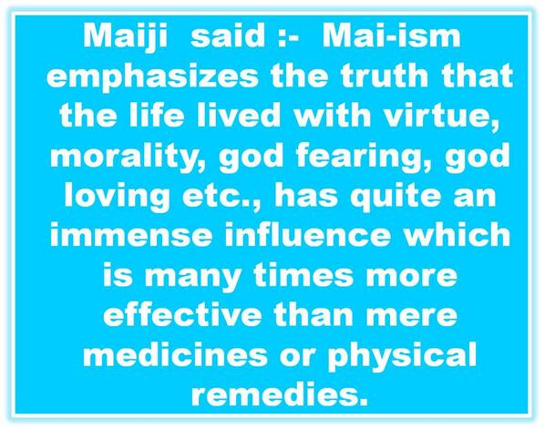 The Mai-istic instructions on health
