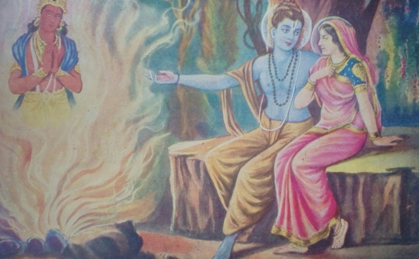 Sita enters into the fire leaving Her shadowbehind
